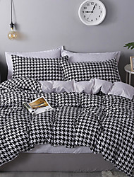 cheap -Houndstooth Bedding Black White Bedding Sets Hounds Tooth Check Duvet Cover Sets Cotton Bedding Geometric Pattern Printed Single Full Queen King Size