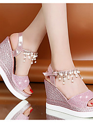 cheap -Women's Sandals Wedge Sandals Summer Wedge Heel Peep Toe Daily PU Pink / Gold / Silver