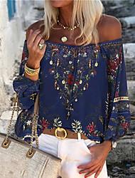 cheap -Women's Floral T-shirt Daily Off Shoulder Blue
