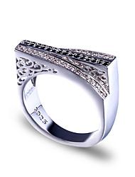 Недорогие -Мужчина женщина Кольцо Belle Ring Цирконий 1шт Черный Медь нерегулярный Массивный Роскошь Вечерние Подарок Бижутерия геометрический Пригодно для носки