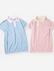 Недорогие -Дети Девочки Контрастных цветов Платье Синий