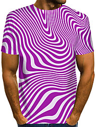 cheap -Men's Graphic 3D Print Black & Red Print T-shirt Basic Exaggerated Daily Black / Purple / Red / Yellow / Green / Navy Blue / Light Blue