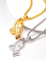 cheap -AAA Cubic Zirconia Pendant Necklace Necklace Charm Necklace Cross Ethnic Hip Hop Copper Gold Silver 55+5 cm Necklace Jewelry 1pc For Halloween Street Festival