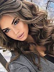 cheap -Synthetic Wig Body Wave Asymmetrical Wig Short Very Long Brown Synthetic Hair 26 inch Women's Fashionable Design curling Fluffy Brown