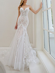 cheap -Mermaid / Trumpet Wedding Dresses Spaghetti Strap Sweep / Brush Train Lace Tulle Sleeveless Sexy See-Through Backless with Embroidery Appliques 2021
