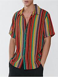 cheap -Men's Striped Shirt Daily Button Down Collar Blue / Orange / Short Sleeve