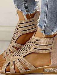 cheap -Women's Sandals Summer Flat Heel Peep Toe Daily PU Black / Gold / Beige