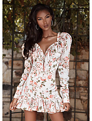 cheap -Women's Sheath Dress Short Mini Dress - Long Sleeve Floral Print Summer Fall Elegant Mumu Holiday Weekend Puff Sleeve 2020 Blushing Pink XS S M