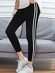 cheap -Women's High Waist Yoga Pants Cropped Leggings Butt Lift Breathable Quick Dry Stripes Black Royal Blue Gym Workout Running Fitness Sports Activewear Stretchy / Moisture Wicking