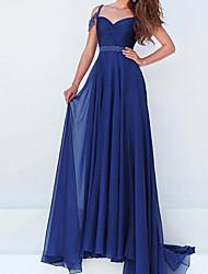 cheap -A-Line Elegant Blue Engagement Formal Evening Dress Spaghetti Strap Sleeveless Sweep / Brush Train Chiffon with Sash / Ribbon Pleats 2020