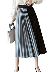 cheap -Women's Swing Skirts - Color Block White Blue Blushing Pink One-Size