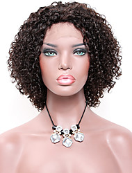cheap -Remy Human Hair Lace Front Wig Free Part style Indian Hair Curly Black Wig 130% Density with Baby Hair Natural Best Quality African American Wig Women's Short Human Hair Lace Wig Premierwigs