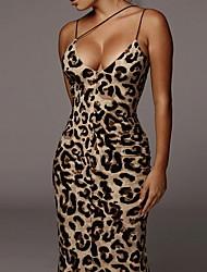cheap -Women's Strap Dress Maxi long Dress - Sleeveless Leopard Animal Summer Sexy 2020 Khaki Brown S M L