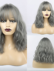 cheap -Synthetic Wig Matte Loose Curl Neat Bang Wig Long Grey Synthetic Hair 16 inch Women's Romantic Fluffy Dark Gray