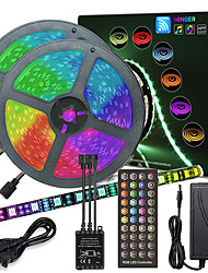 cheap -ZDM 10M(2*5M) High-Quality Black PCB Music Timing Synchronous Control Flexible Light Bar 600 x 5050 RGB LED and IR 40 Key Controller with12V 6A Adapter Kit
