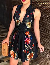 cheap -Women's A Line Dress - Sleeveless Floral Summer V Neck Elegant 2020 White Black S M L XL