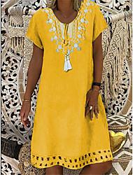 cheap -Women's A-Line Dress Short Sleeve Polka Dot Patchwork Summer V Neck Casual Vintage Daily Belt Not Included Oversized 2020 Wine Purple Yellow Khaki Light Blue S M L XL XXL XXXL XXXXL XXXXXL