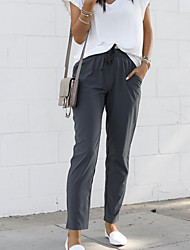 cheap -Women's Basic Sophisticated Loose Cotton Chinos Pants - Solid Colored Dark Gray S / M / L