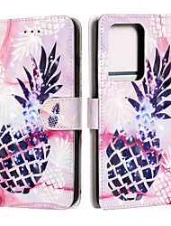 cheap -Case For Samsung Galaxy S20 / S20 Plus / S20 Ultra Wallet / Card Holder / with Stand Purple Pineapple PU Leather / TPU for Galaxy A51 / A71 / A41 / A21 / A11 / A01 / A50(2019) / A30S(2019)