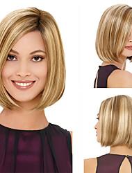 cheap -Light Brown Wig Female Short Hair Fashion Bob Short Straight Hair Highlighting Chemical Fiber Hair Hood