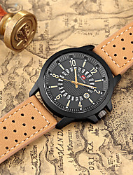cheap -Men's Dress Watch Quartz Genuine Leather 30 m Water Resistant / Waterproof Calendar / date / day Day Date Analog Fashion Cool - Black Orange Brown One Year Battery Life
