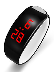 Недорогие -Муж. электронные часы Цифровой Современный Стильные силиконовый Черный / Белый ЖК экран Cool Цифровой На каждый день Мода - Белый Черный Один год Срок службы батареи