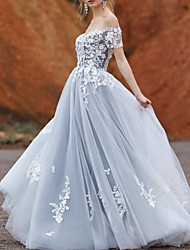 cheap -A-Line Wedding Dresses Off Shoulder Sweep / Brush Train Lace Tulle Short Sleeve Vintage Sexy Wedding Dress in Color Backless with Pleats Embroidery Appliques 2020