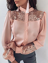 cheap -Women's Solid Colored Lace Embroidered Mesh Shirt Daily Vacation Blushing Pink / Satin