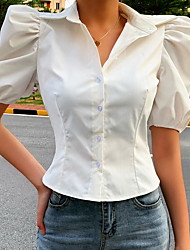 cheap -Women's Solid Colored Blouse Daily Shirt Collar White