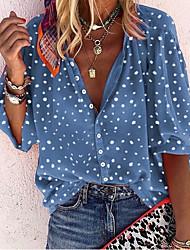 cheap -Women's Polka Dot Blouse Daily V Neck White / Blue / Red / Yellow
