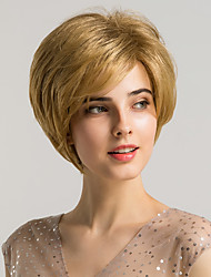 cheap -Synthetic Wig Bangs Natural Straight Side Part Neat Bang With Bangs Wig Blonde Short Blonde Synthetic Hair 10 inch Women's Cosplay Women Synthetic Blonde HAIR CUBE