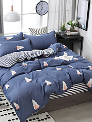 cheap -Simple wind plant tree print pattern bedding four-piece quilt cover bed sheet pillow cover dormitory single double