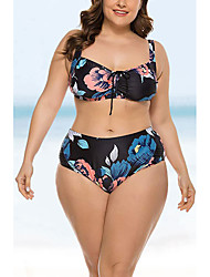 cheap -Women's Plus Size Basic Black Halter Tankini Swimwear Swimsuit - Floral Backless Bow Print M L XL Black