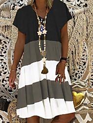 cheap -Women's A-Line Dress Knee Length Dress - Short Sleeves Color Block Summer Casual 2020 Black Khaki Light Blue S M L XL XXL XXXL XXXXL XXXXXL