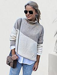 cheap -Women's Color Block Long Sleeve Pullover Sweater Jumper, Turtleneck Fall / Winter Gray S / M / L