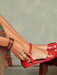 cheap -Women's Sandals Flat Sandal Summer Flat Heel Peep Toe Daily PU Black / Red / Brown