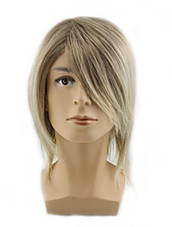 cheap -Synthetic Wig Curly Asymmetrical Wig Blonde Medium Length Light golden Synthetic Hair 12 inch Men's Party Youth Blonde
