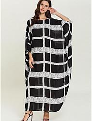cheap -Women's Shift Dress Maxi long Dress - 3/4 Length Sleeve Striped Summer Casual Elegant 2020 Black One-Size
