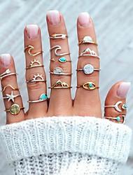 billige -Dame Ring Set 19pcs Sølv Legering Sirkelformet Mote Gate Smykker