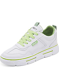 cheap -Women's Trainers / Athletic Shoes Spring &  Fall / Spring Flat Heel Round Toe Casual Daily Solid Colored Microfiber Walking Shoes White / Orange / Green