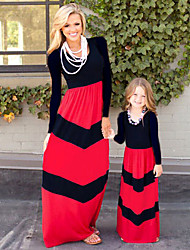cheap -Mommy and Me Boho Sweet Black & Red Color Block Print Long Sleeve Maxi Dress Black