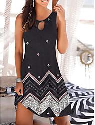 cheap -Women's Sundress Short Mini Dress White Black Sleeveless Floral Print Summer Round Neck Hot Casual Boho 2021 S M L XL XXL