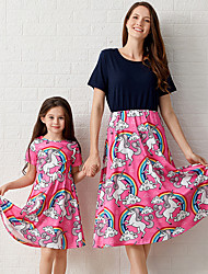 cheap -Mommy and Me Vintage Sweet Unicorn Floral Color Block Print Short Sleeve Maxi Dress Wine