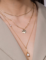 cheap -Women's Pendant Necklace Necklace Layered Necklace Classic Lucky Classic Elegant Trendy Fashion Imitation Pearl Chrome Gold 48 cm Necklace Jewelry 1pc For Party Evening Street Birthday Party Beach