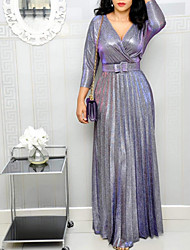 cheap -Women's Maxi Sheath Dress - 3/4 Length Sleeve Solid Colored Deep V Elegant Purple Blushing Pink Silver M L XL