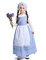 cheap -Maid Costume Dress Hat Flower Girl Dress Girls' Movie Cosplay A-Line Slip Vacation Dress Blue Dress Apron Hat Children's Day Masquerade Poly / Cotton