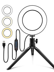cheap -Photography LED Selfie Ring Light 16CM Stepless Lighting Dimmable With Cradle Head For Makeup Youtube Facebook Video Live Studio