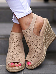 cheap -Women's Sandals Wedge Sandals Summer Wedge Heel Peep Toe Daily PU Beige