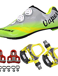 cheap -SIDEBIKE Adults' Cycling Shoes With Pedals & Cleats Road Bike Shoes Carbon Fiber Cushioning Cycling Green Men's Cycling Shoes / Breathable Mesh