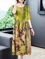 cheap -Women's Shift Dress - Half Sleeve Print Summer Vintage 2020 Yellow M L XL XXL XXXL